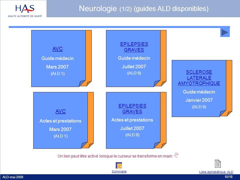 ALD-mai-2008 10/18 AVC Actes et prestations Mars 2007 (ALD 1) AVC Guide médecin Mars 2007 (ALD 1) Un lien peut être activé lorsque le curseur se trans