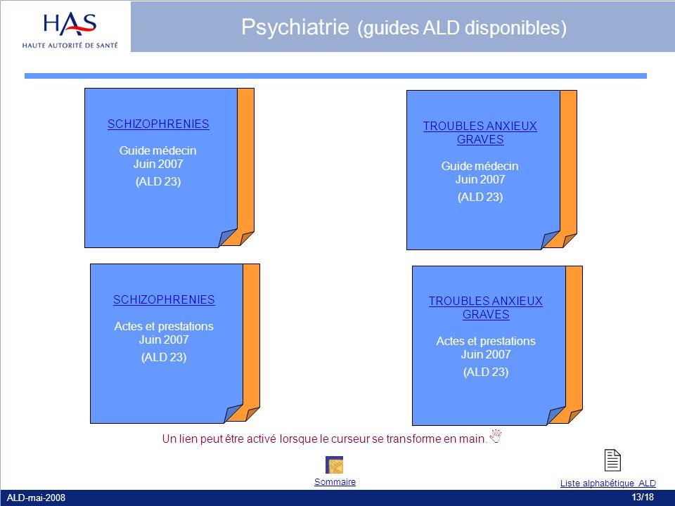 ALD-mai-2008 13/18 Psychiatrie (guides ALD disponibles) SCHIZOPHRENIES Guide médecin Juin 2007 (ALD 23) SCHIZOPHRENIES Actes et prestations Juin 2007
