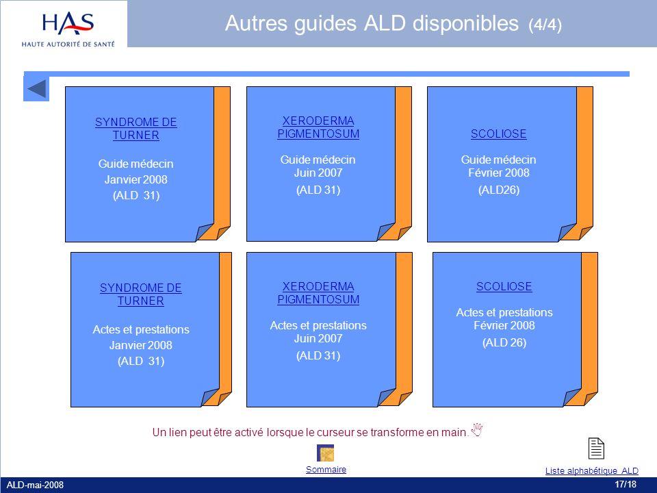 ALD-mai-2008 17/18 Un lien peut être activé lorsque le curseur se transforme en main. SCOLIOSE Guide médecin Février 2008 (ALD26) SCOLIOSE Actes et pr