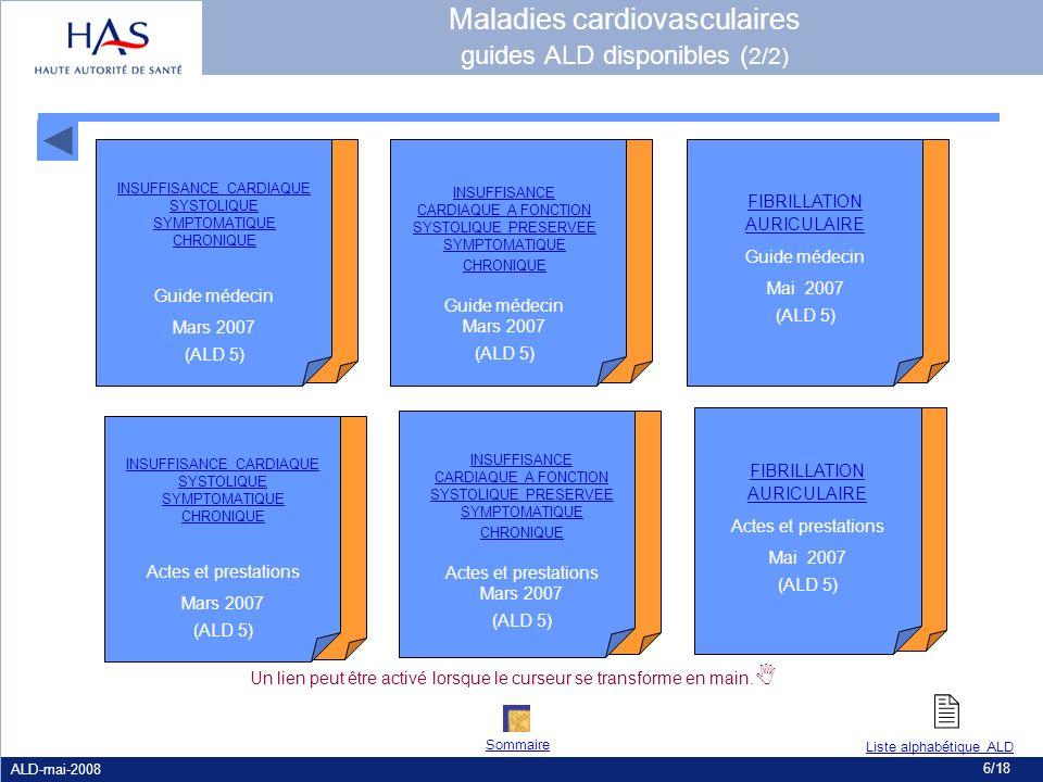 ALD-mai-2008 6/18 INSUFFISANCE CARDIAQUE SYSTOLIQUE SYMPTOMATIQUE CHRONIQUE Guide médecin Mars 2007 (ALD 5) INSUFFISANCE CARDIAQUE A FONCTION SYSTOLIQ