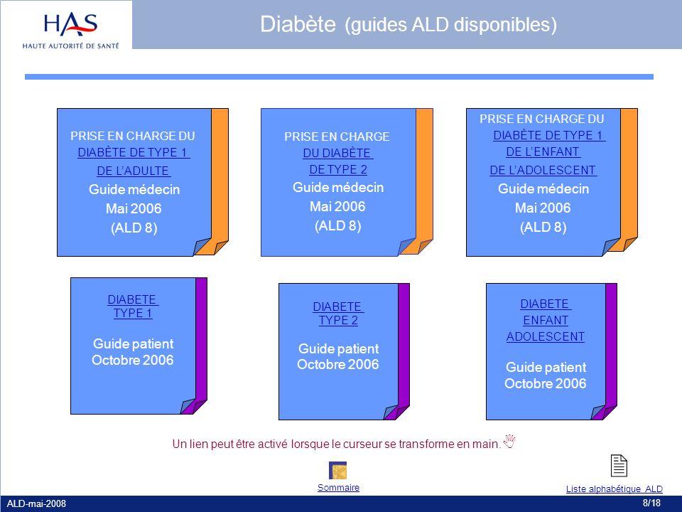 ALD-mai-2008 8/18 PRISE EN CHARGE DU DIABÈTE DE TYPE 2 Guide médecin Mai 2006 (ALD 8) PRISE EN CHARGE DU DIABÈTE DE TYPE 1 DE LENFANT DE LADOLESCENT G