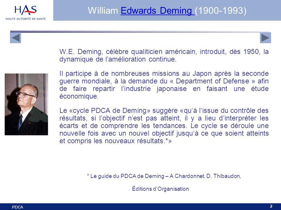 PDCA 2 William Edwards Deming (1900-1993)Edwards Deming W.E. Deming, célèbre qualiticien américain, introduit, dès 1950, la dynamique de lamélioration