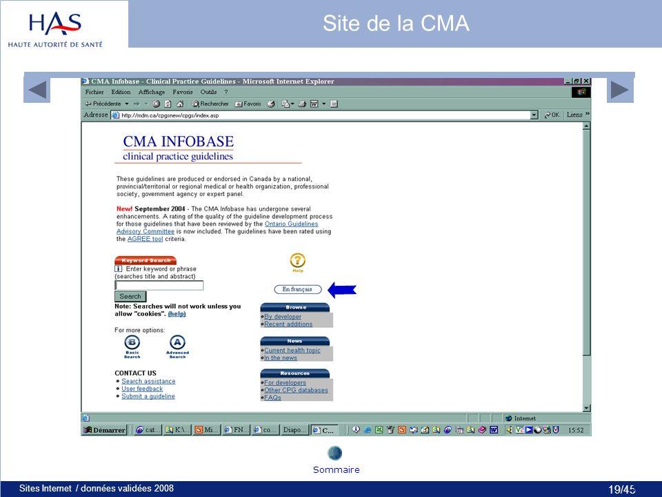 19/45 Sites Internet / données validées 200819 Site de la CMA Sommaire