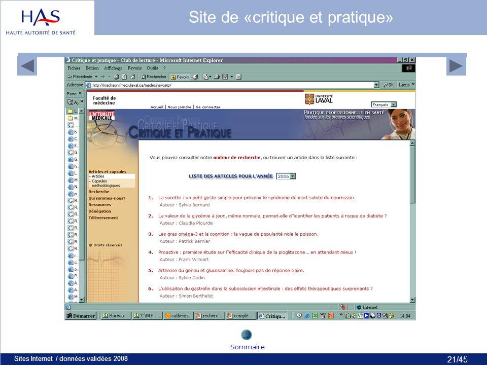 21/45 Sites Internet / données validées 200821 Site de «critique et pratique» Sommaire