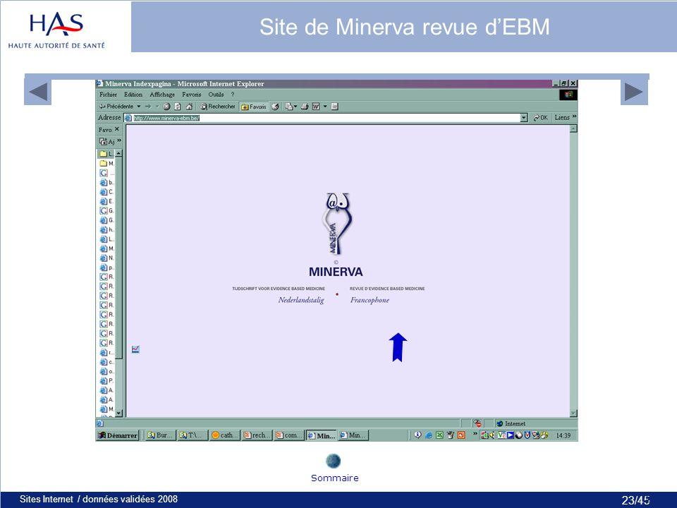 23/45 Sites Internet / données validées 200823 Site de Minerva revue dEBM Sommaire