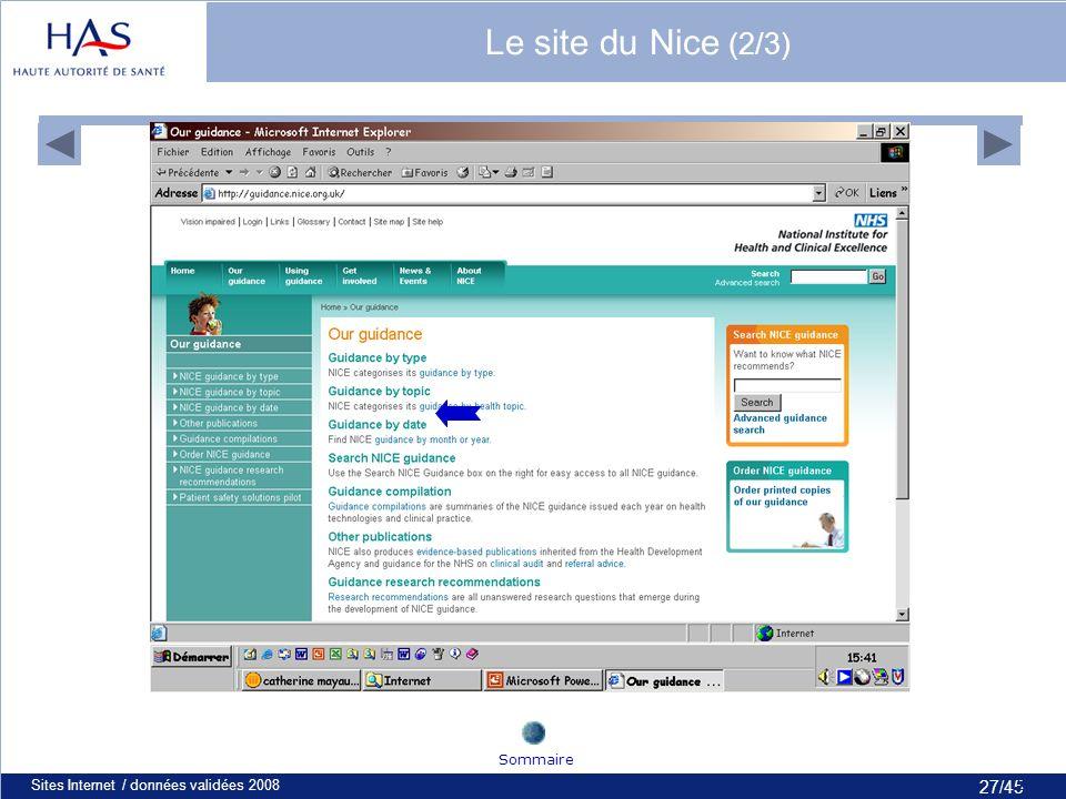 27/45 Sites Internet / données validées 200827 Sommaire Le site du Nice (2/3)
