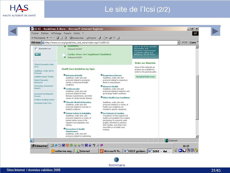 31/45 Sites Internet / données validées 200831 Sommaire Le site de lIcsi (2/2)