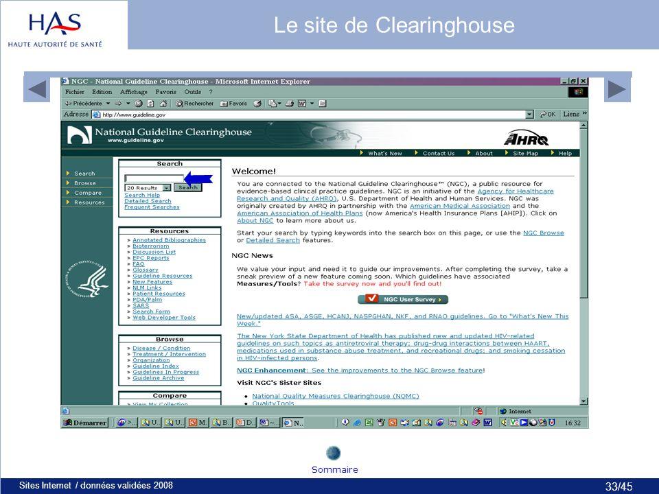 33/45 Sites Internet / données validées 200833 Le site de Clearinghouse Sommaire