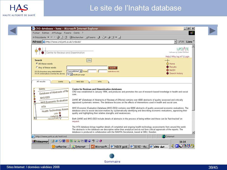 39/45 Sites Internet / données validées 200839 Le site de lInahta database Sommaire