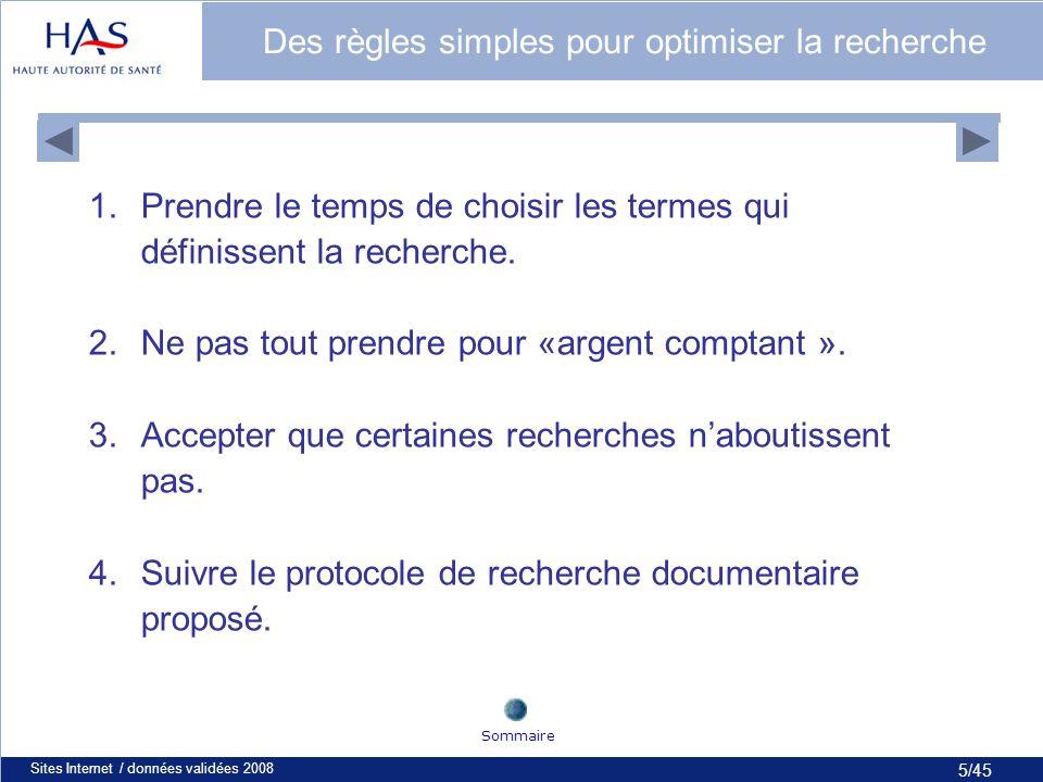 5/45 Sites Internet / données validées 20085 Des règles simples pour optimiser la recherche 1.Prendre le temps de choisir les termes qui définissent la recherche.