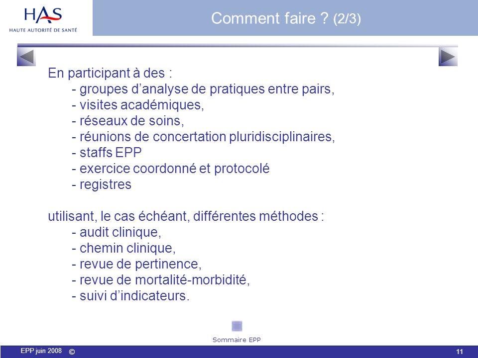 © 11 EPP juin 2008 En participant à des : - groupes danalyse de pratiques entre pairs, - visites académiques, - réseaux de soins, - réunions de concer
