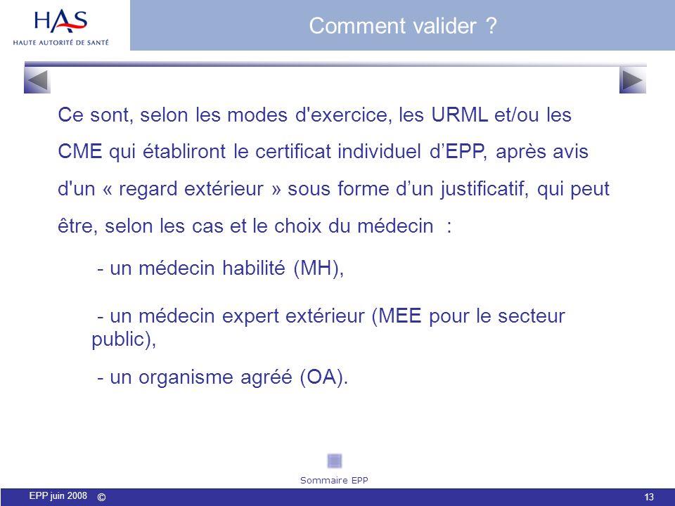 © 13 EPP juin 2008 Ce sont, selon les modes d'exercice, les URML et/ou les CME qui établiront le certificat individuel dEPP, après avis d'un « regard