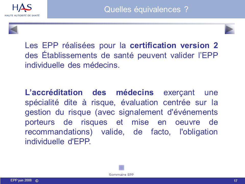 © 17 EPP juin 2008 Les EPP réalisées pour la certification version 2 des Établissements de santé peuvent valider lEPP individuelle des médecins. Laccr