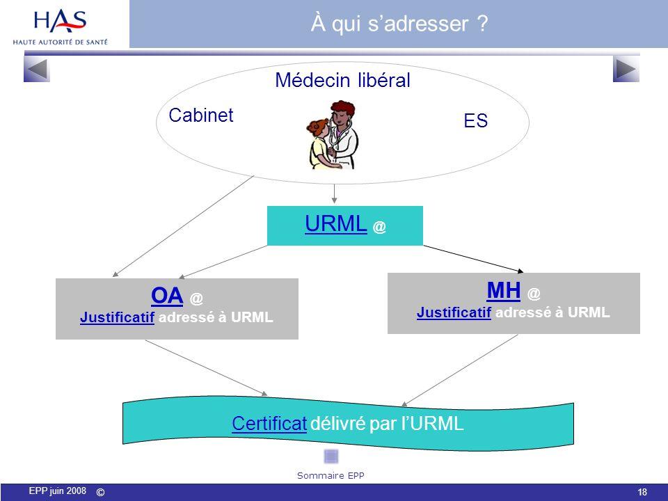 © 18 EPP juin 2008 Médecin libéral URMLURML @ OAOA @ JustificatifJustificatif adressé à URML MHMH @ JustificatifJustificatif adressé à URML Cabinet ES