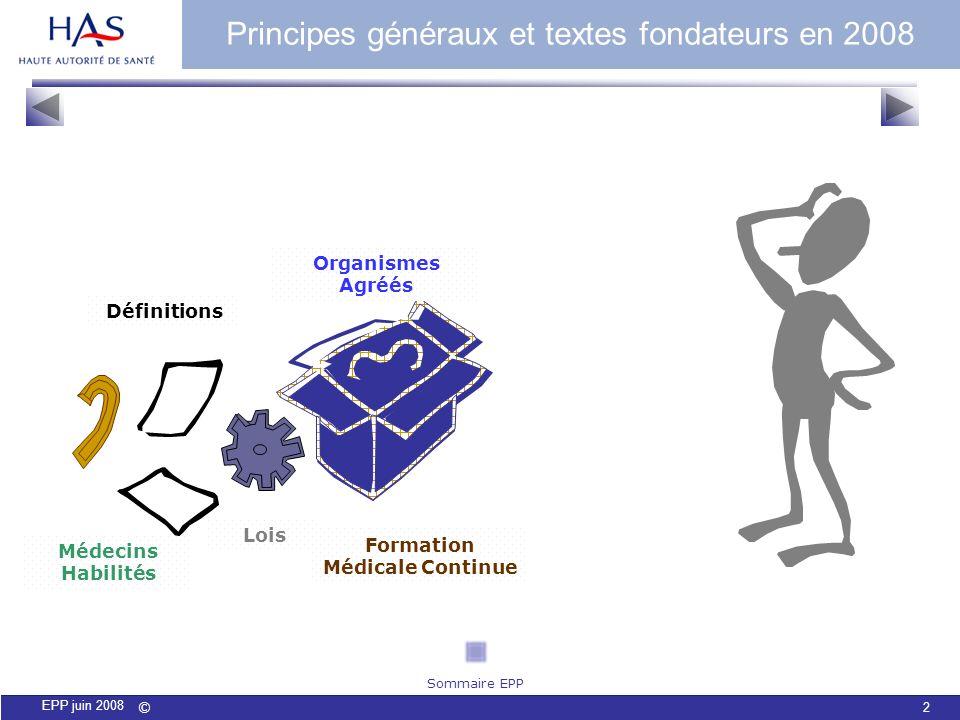 © 2 EPP juin 2008 Médecins Habilités Organismes Agréés Lois Définitions Formation Médicale Continue Principes généraux et textes fondateurs en 2008 So