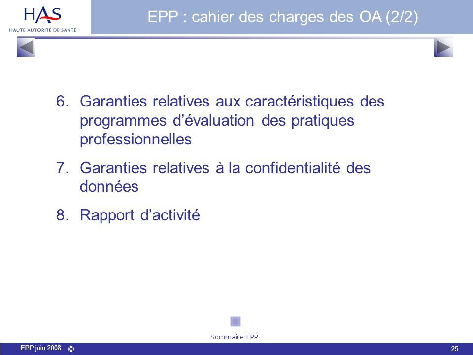 © 25 EPP juin 2008 EPP : cahier des charges des OA (2/2) 6.Garanties relatives aux caractéristiques des programmes dévaluation des pratiques professio