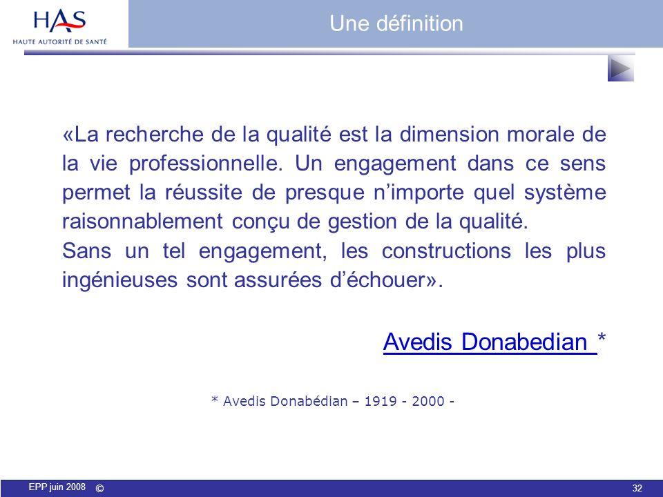 © 32 EPP juin 2008 «La recherche de la qualité est la dimension morale de la vie professionnelle. Un engagement dans ce sens permet la réussite de pre