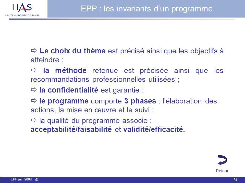 © 34 EPP juin 2008 EPP : les invariants dun programme Le choix du thème est précisé ainsi que les objectifs à atteindre ; la méthode retenue est préci