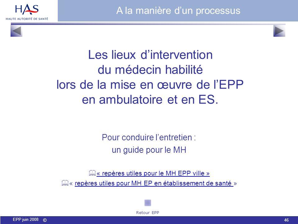 © 46 EPP juin 2008 Les lieux dintervention du médecin habilité lors de la mise en œuvre de lEPP en ambulatoire et en ES. A la manière dun processus Po