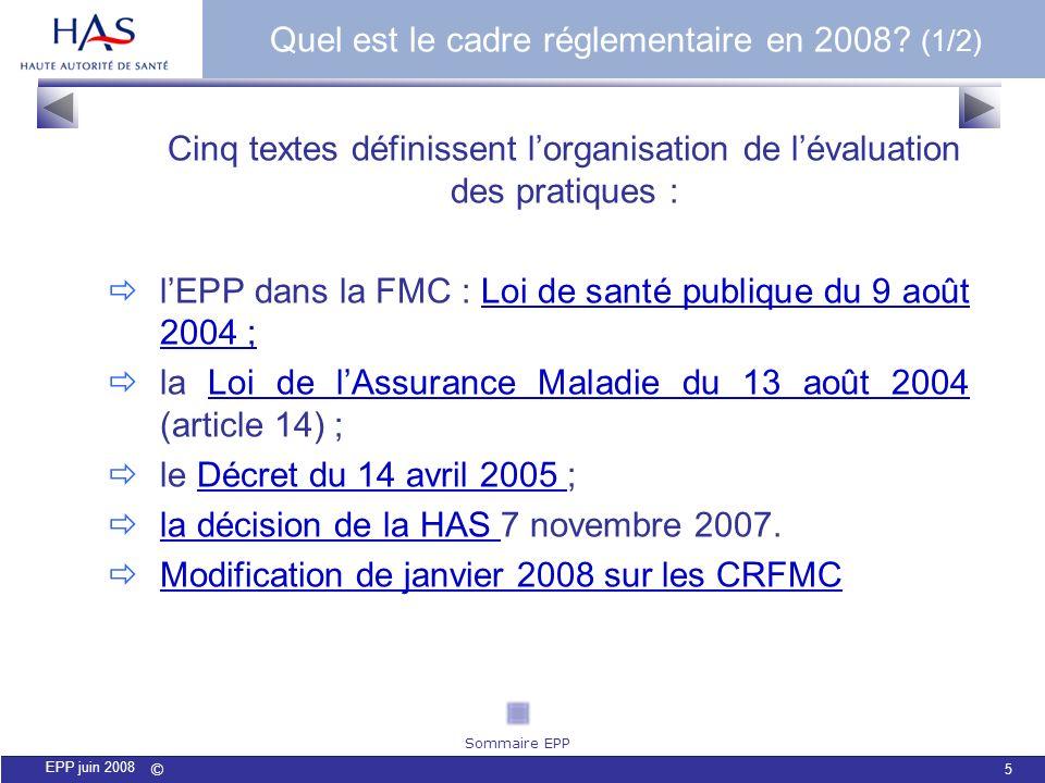 © 5 EPP juin 2008 Cinq textes définissent lorganisation de lévaluation des pratiques : lEPP dans la FMC : Loi de santé publique du 9 août 2004 ;Loi de
