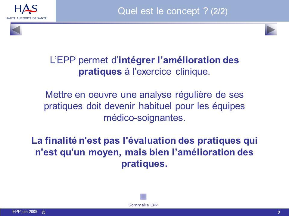 © 9 EPP juin 2008 LEPP permet dintégrer lamélioration des pratiques à lexercice clinique. Mettre en oeuvre une analyse régulière de ses pratiques doit