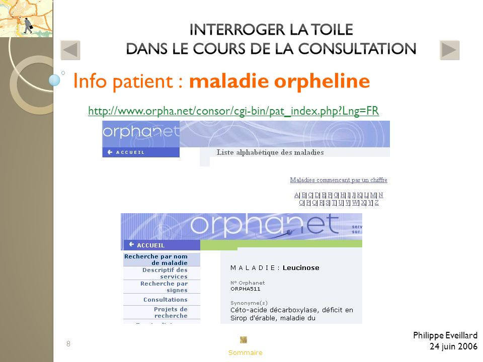 8 Info patient : maladie orpheline Philippe Eveillard 24 juin 2006 http://www.orpha.net/consor/cgi-bin/pat_index.php Lng=FR Sommaire
