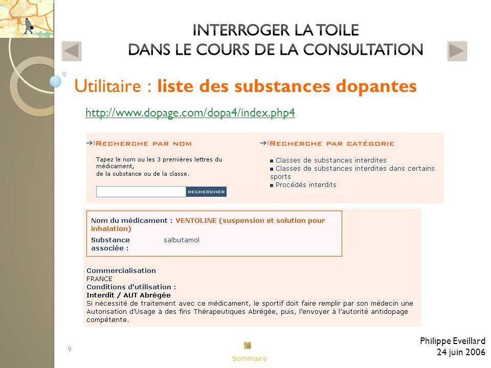 9 Utilitaire : liste des substances dopantes Philippe Eveillard 24 juin 2006 http://www.dopage.com/dopa4/index.php4 Sommaire