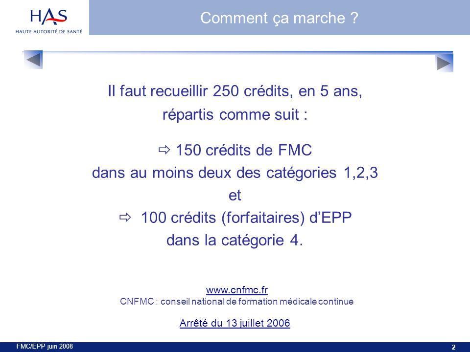 FMC/EPP juin 2008 2 Il faut recueillir 250 crédits, en 5 ans, répartis comme suit : 150 crédits de FMC dans au moins deux des catégories 1,2,3 et 100 crédits (forfaitaires) dEPP dans la catégorie 4.