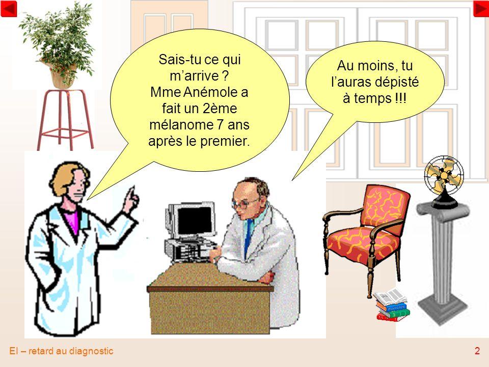 EI – retard au diagnostic2 Sais-tu ce qui marrive ? Mme Anémole a fait un 2ème mélanome 7 ans après le premier. Au moins, tu lauras dépisté à temps !!