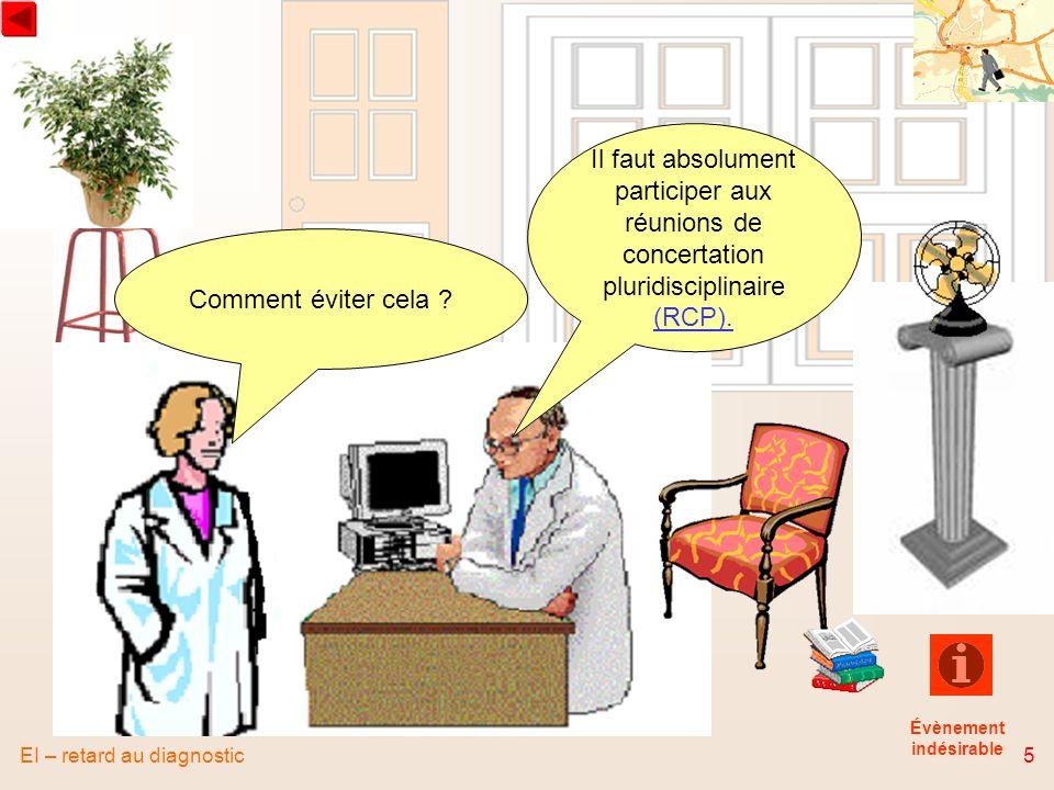EI – retard au diagnostic5 Comment éviter cela ? Il faut absolument participer aux réunions de concertation pluridisciplinaire (RCP). Évènement indési