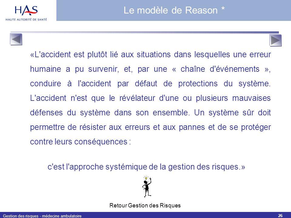 Gestion des risques - médecine ambulatoire 26 «L'accident est plutôt lié aux situations dans lesquelles une erreur humaine a pu survenir, et, par une