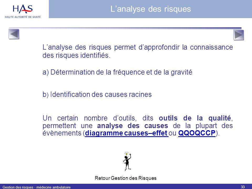 Gestion des risques - médecine ambulatoire 33 Lanalyse des risques permet dapprofondir la connaissance des risques identifiés. a) Détermination de la
