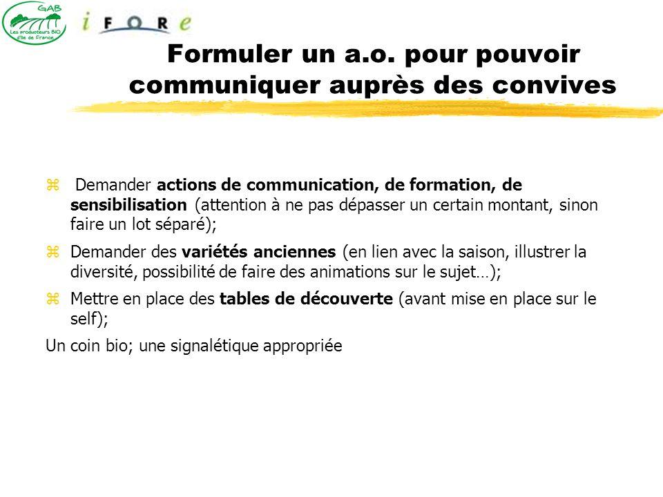 Formuler un a.o. pour pouvoir communiquer auprès des convives Demander actions de communication, de formation, de sensibilisation (attention à ne pas