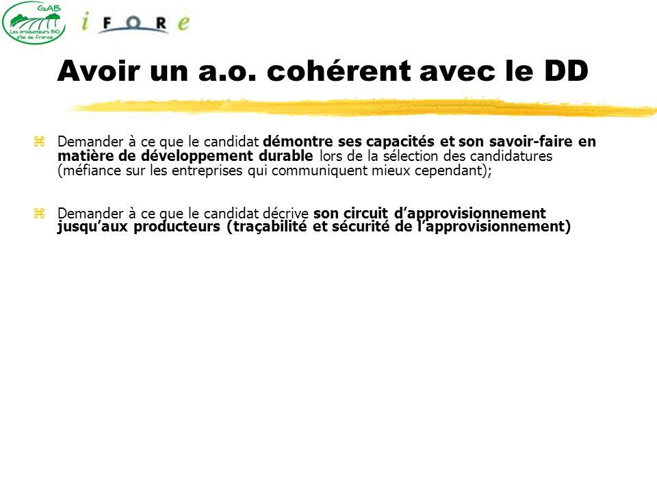 Avoir un a.o. cohérent avec le DD Demander à ce que le candidat démontre ses capacités et son savoir-faire en matière de développement durable lors de