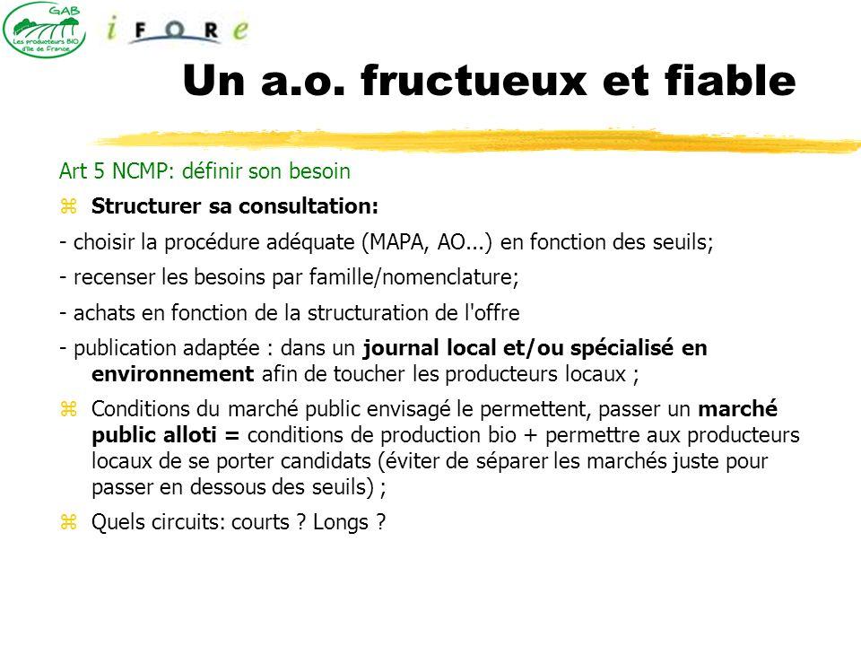 Art 5 NCMP: définir son besoin Structurer sa consultation: - choisir la procédure adéquate (MAPA, AO...) en fonction des seuils; - recenser les besoin