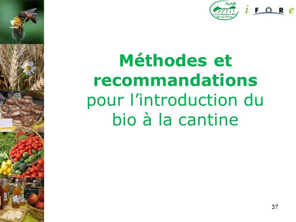 37 Méthodes et recommandations pour lintroduction du bio à la cantine