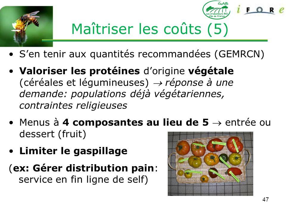 47 Sen tenir aux quantités recommandées (GEMRCN) Valoriser les protéines dorigine végétale (céréales et légumineuses) réponse à une demande: populatio