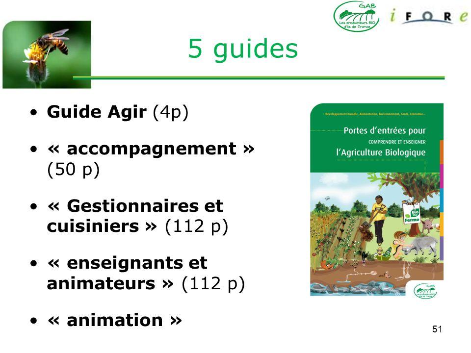 51 5 guides Guide Agir (4p) « accompagnement » (50 p) « Gestionnaires et cuisiniers » (112 p) « enseignants et animateurs » (112 p) « animation »
