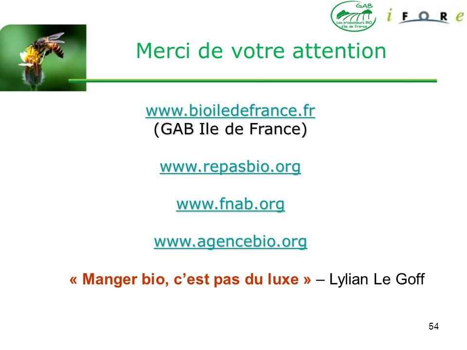 54 Merci de votre attention www.bioiledefrance.fr (GAB Ile de France) www.repasbio.org www.fnab.org www.agencebio.org « Manger bio, cest pas du luxe »