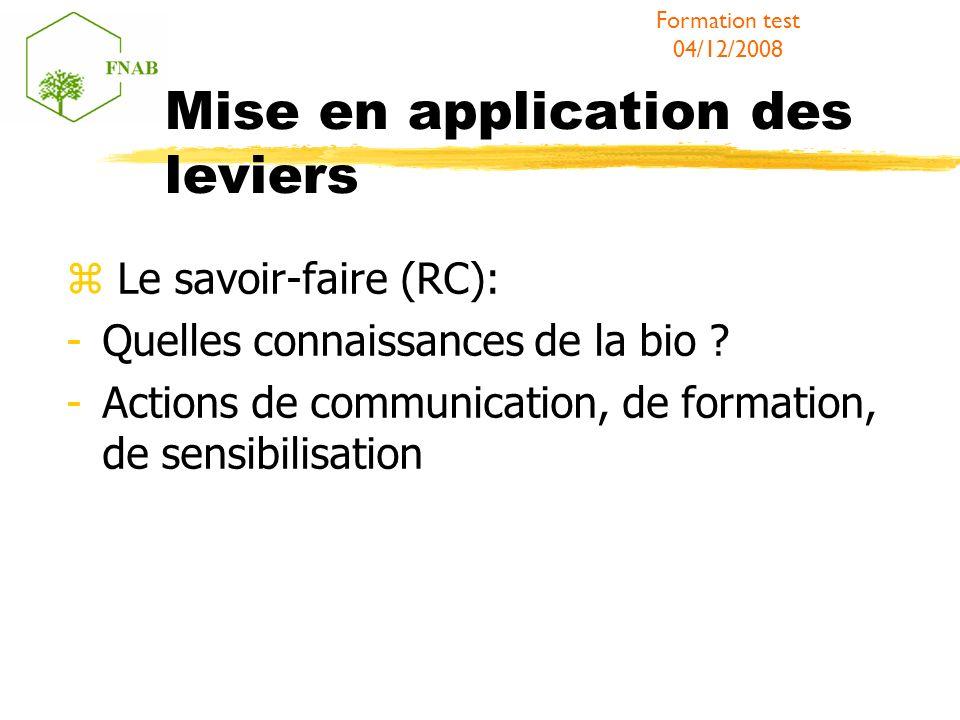 Mise en application des leviers Le savoir-faire (RC): -Quelles connaissances de la bio ? -Actions de communication, de formation, de sensibilisation F