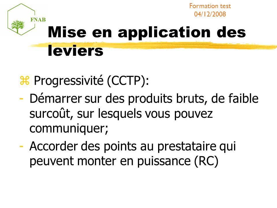 Mise en application des leviers Progressivité (CCTP): -Démarrer sur des produits bruts, de faible surcoût, sur lesquels vous pouvez communiquer; -Acco