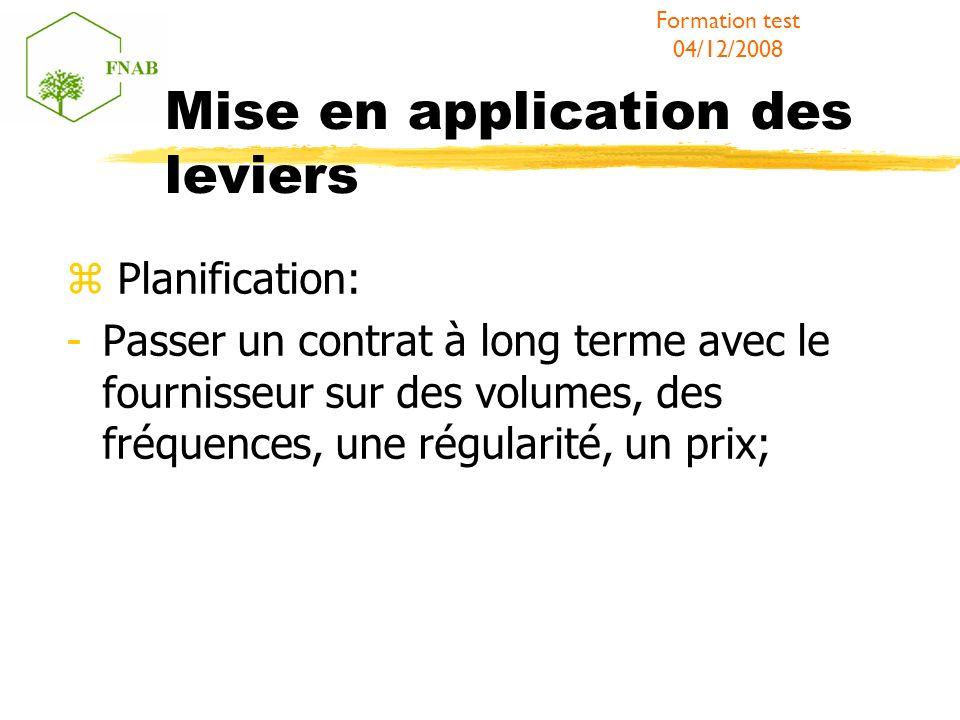 Mise en application des leviers Planification: -Passer un contrat à long terme avec le fournisseur sur des volumes, des fréquences, une régularité, un prix; Formation test 04/12/2008