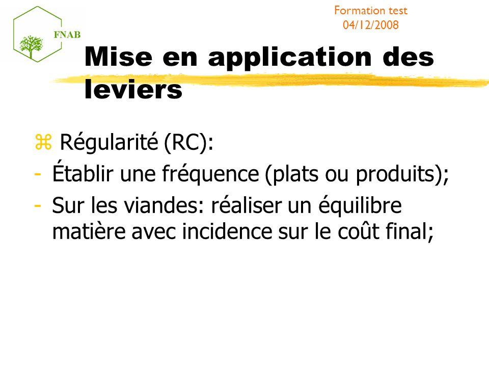 Mise en application des leviers Régularité (RC): -Établir une fréquence (plats ou produits); -Sur les viandes: réaliser un équilibre matière avec incidence sur le coût final; Formation test 04/12/2008