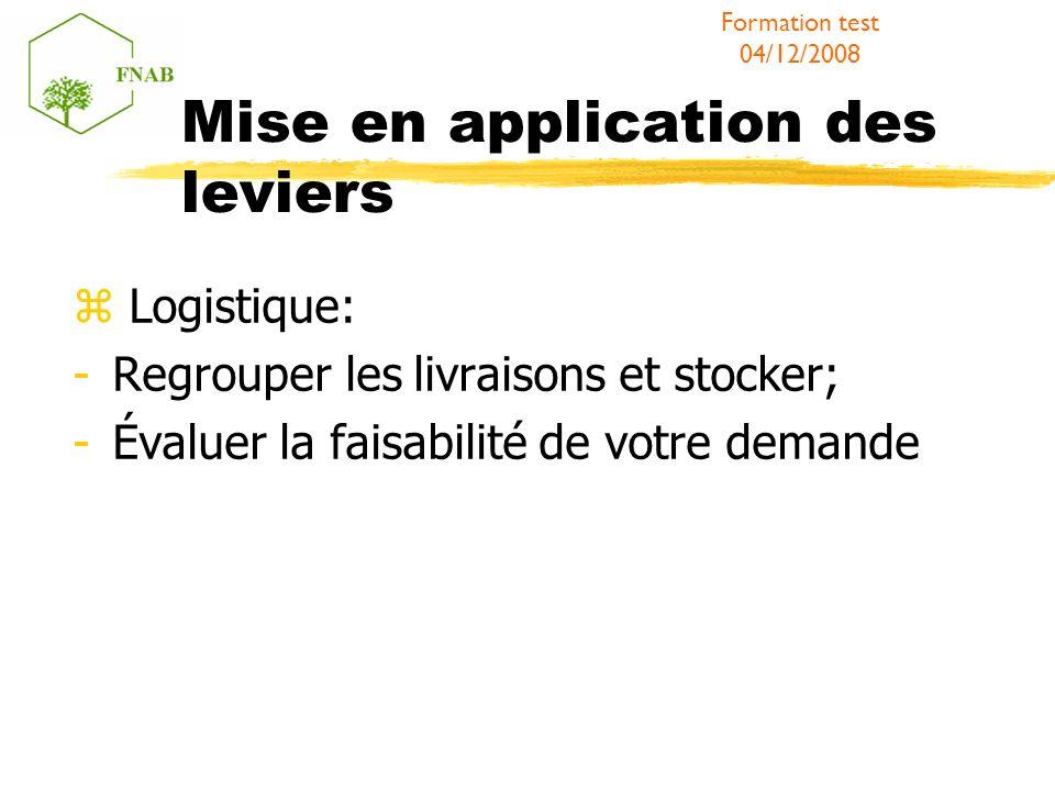 Mise en application des leviers Logistique: -Regrouper les livraisons et stocker; -Évaluer la faisabilité de votre demande Formation test 04/12/2008
