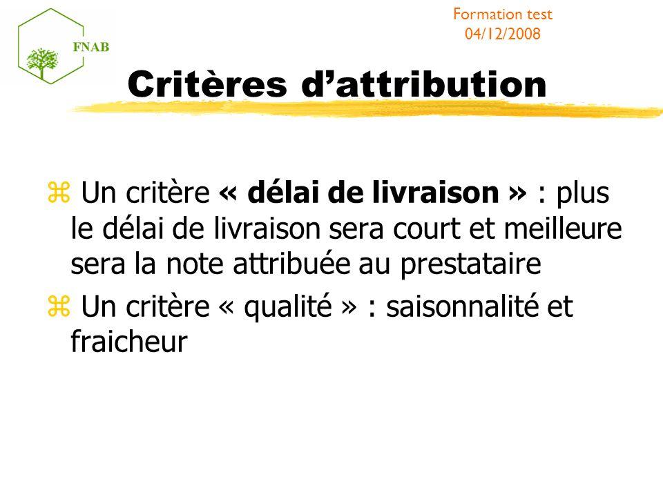 Critères dattribution Un critère « délai de livraison » : plus le délai de livraison sera court et meilleure sera la note attribuée au prestataire Un critère « qualité » : saisonnalité et fraicheur Formation test 04/12/2008