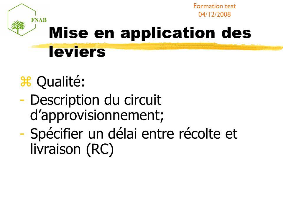 Mise en application des leviers Qualité: -Description du circuit dapprovisionnement; -Spécifier un délai entre récolte et livraison (RC) Formation tes