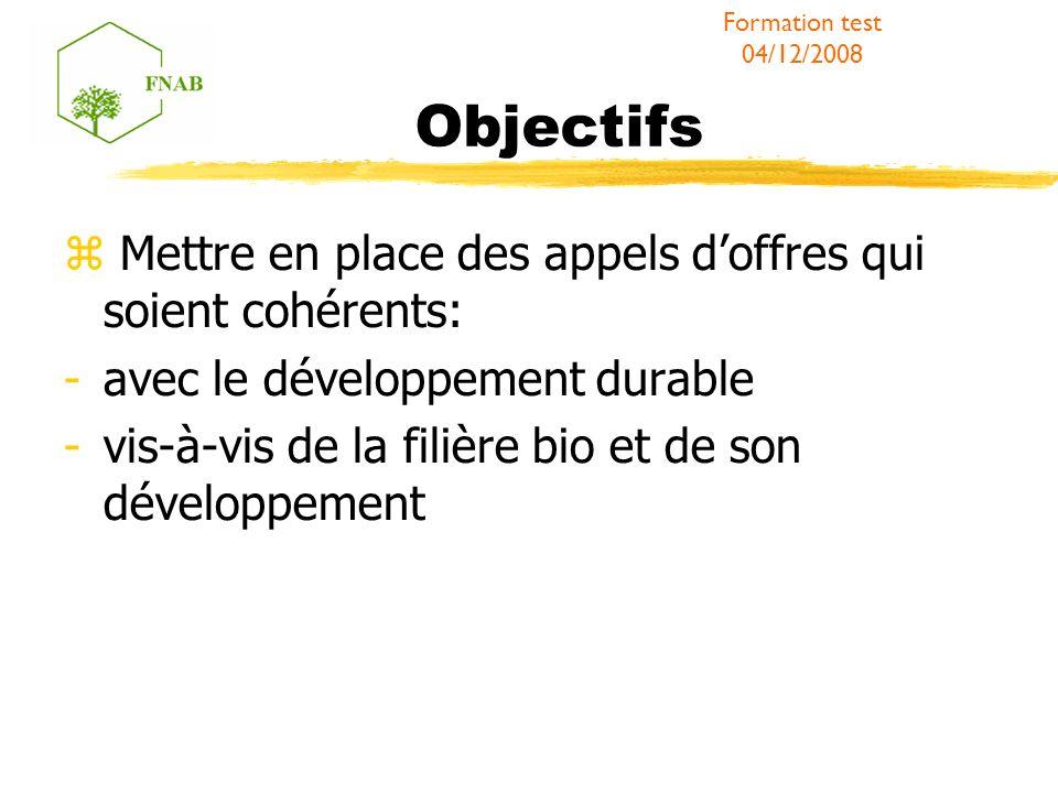 Objectifs Mettre en place des appels doffres qui soient cohérents: -avec le développement durable -vis-à-vis de la filière bio et de son développement Formation test 04/12/2008