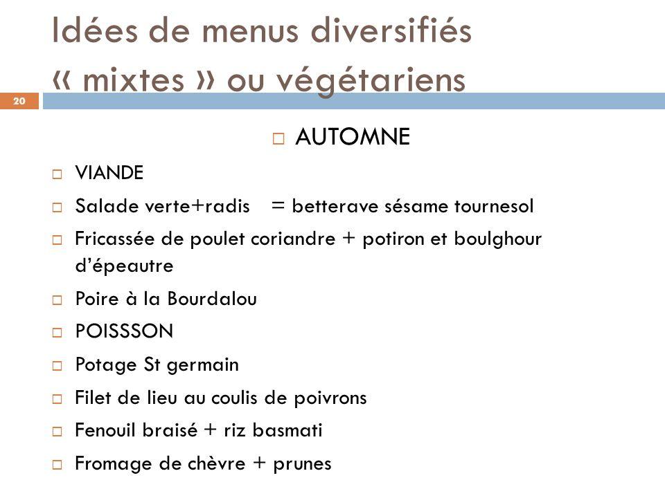 Idées de menus diversifiés « mixtes » ou végétariens AUTOMNE VIANDE Salade verte+radis = betterave sésame tournesol Fricassée de poulet coriandre + po