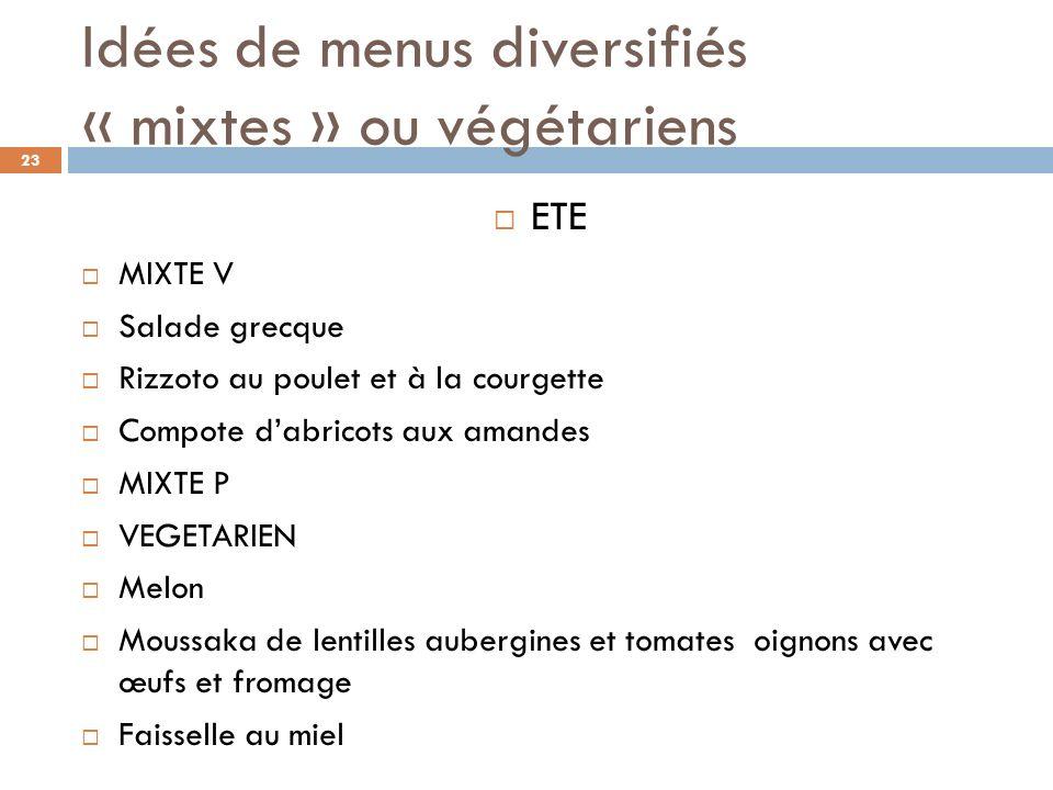 Idées de menus diversifiés « mixtes » ou végétariens ETE MIXTE V Salade grecque Rizzoto au poulet et à la courgette Compote dabricots aux amandes MIXT