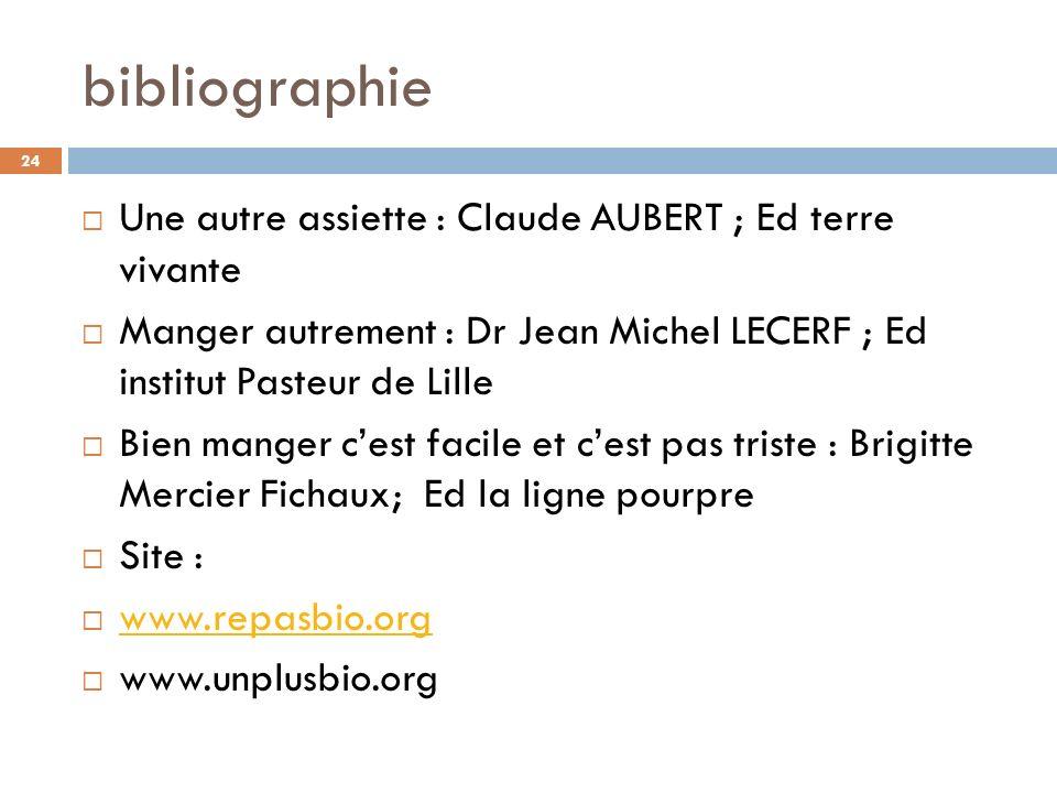 bibliographie Une autre assiette : Claude AUBERT ; Ed terre vivante Manger autrement : Dr Jean Michel LECERF ; Ed institut Pasteur de Lille Bien mange